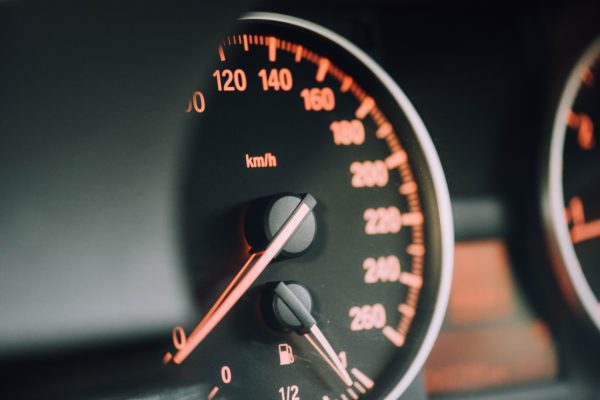 speedometer with orange backlight